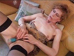 Mature in stockings and lingerie has dildo sex tubes