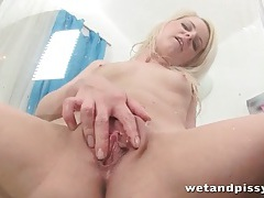Shaved blonde licks her piss like a naughty girl tubes