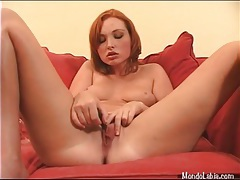 Redhead with sexy freckles has toy sex tubes