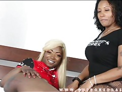 Curvy black girl with blonde hair plays solo tubes