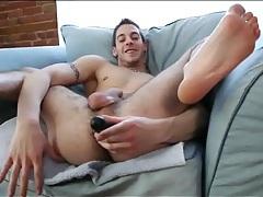 Sexy solo guy fucks his ass with a dildo tubes
