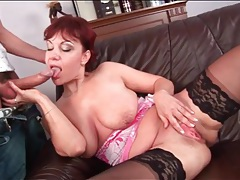 Redhead mom sucks his cock and gets fucked tubes