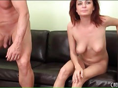 Cute nude redhead gives him a blowjob on camera tubes