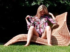 Cute dress and black panties on teen outdoors tubes