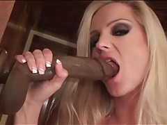 Blonde lustily blows and fucks big dildo tubes