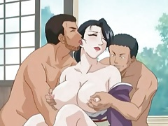 Anime hottie in kimono fucked in threesome tubes