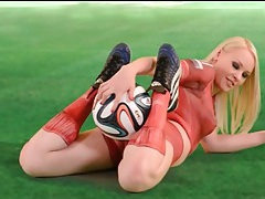 Sexy blonde lola taylor in painted on uniform tubes