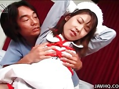 Fucking cute young japanese girl in his bed tubes