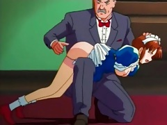 Naughty hentai maid spanked on her sexy ass tubes
