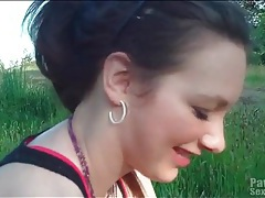Blowjob in a grassy field from cute gf tubes