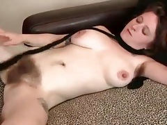 Hairy legs and huge bush on busty babe tubes