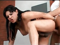 Shemale babe shows him anal pleasure tubes