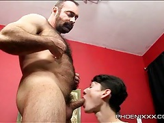 Big bear blown by super skinny twink tubes