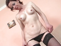 Fit mature with sexy implants masturbates tubes
