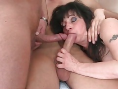 Three young guys gangbang busty mature tubes