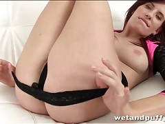 Redhead peels off her pretty little panties tubes