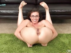 Flexible small tits girl in glasses fingers pussy tubes