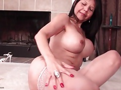 Mommy with fake titties masturbates in stockings tubes