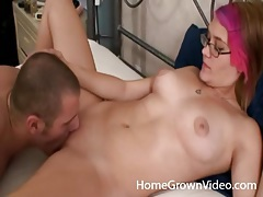 Pink haired young lady loves getting eaten out tubes