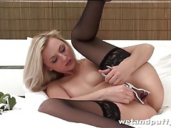 Young blonde beauty spreads her pussy lips open tubes