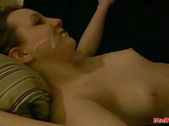 Nut sucking girlfriend gets a big facial tubes