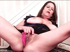 Curvy big tits mature masturbates in a dress tubes