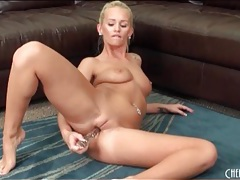 Cute blonde bangs vagina with a toy tubes