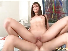 Teen with tiny titties bounces on a dick tubes