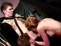 Guy and girl team up to suck his cock and balls tubes