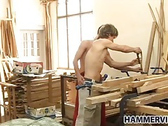 Wood working buddies have blowjob and anal sex tubes