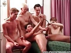 Five guys masturbate and use penis pump tubes