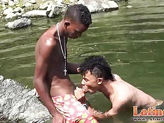Heated latinos get wet and go gay under the sun tubes