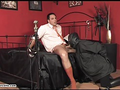 Gay hunk gets his feet and cock worshipped by cum loving slave tubes