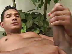 Smooth latino brings out his big cock tubes