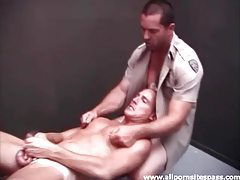 Cop fucks a smooth ass in the locker room tubes