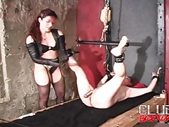 Mistress gives him an enema and he hurts tubes