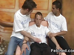 Hot threesome gay sex  action and cum felching tubes