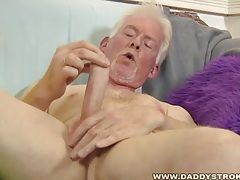 Skinny daddy jerks of his skinny cock tubes