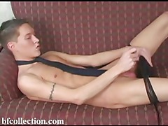 Slim twink playing with his dick tubes