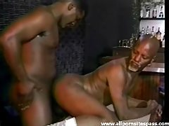 Black guy with a goatee boned in the ass tubes