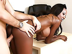 Plugging black milf doggy style tubes
