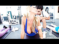 Busty blonde fucked hard after her workout tubes