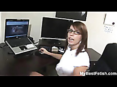 Big tits office babe give footjob tubes