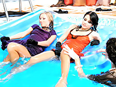 Babes in the pool tubes