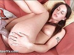 Teen sucks and fucks a huge dildo with lust tubes