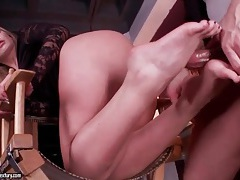 Blonde gives footjob and gets fucked tubes