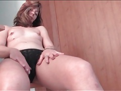 Tiny tits milf in pantyhose in her kitchen tubes