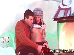 Sexy sweater girl sucks dick in an igloo tubes