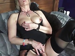 Black boots and lingerie on sexy blonde mature tubes