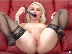 Sexy stockings on hot blonde fucking a toy tubes